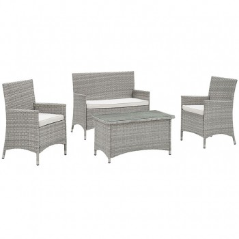 Bridge 4 Piece Outdoor Patio Patio Conversation Set, Light Gray, White  by Modway