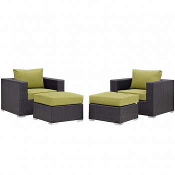 Convene 4 Piece Outdoor Patio Sectional Set, Espresso, Peridot by Modway