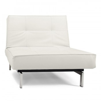Splitback Chair, 588 Leather Look White PU + Stainless Steel Legs