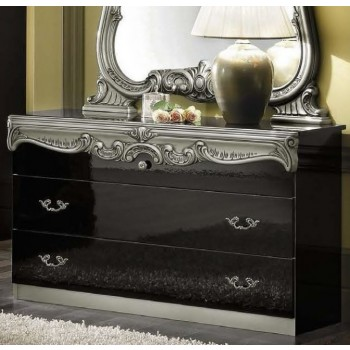 Barocco Single Dresser, Black + Silver