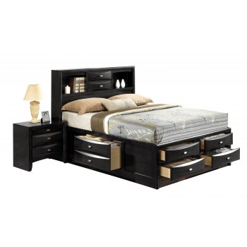 Linda Queen Size Bed, Black by Global Furniture USA