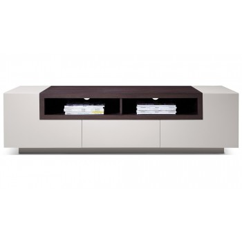 002 TV Stand, Grey Gloss + Brown Oak by J&M Furniture
