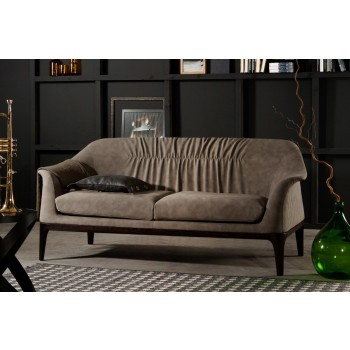 Tiffany Sofa, Dark Oak Heat-Treated Wood Base, Ecru Nubuck Eco-Leather