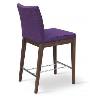 Aria Wood Bar Stool, Solid Beech Walnut Color, Deep Maroon Camira Wool by SohoConcept Furniture