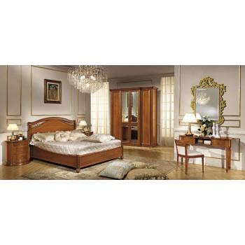Siena Legno Euro King Size Bedroom Set w/Platform, Walnut