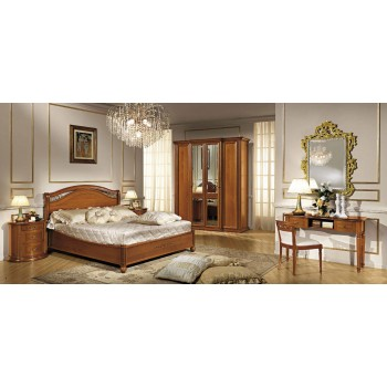 Siena Legno Euro Queen Size Bedroom Set w/Platform, Walnut