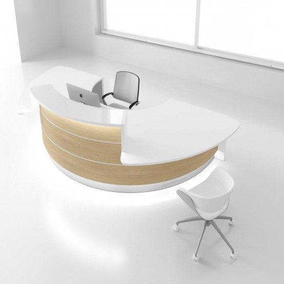 Valde LAV05L Reception Desk, Canadian Oak photo