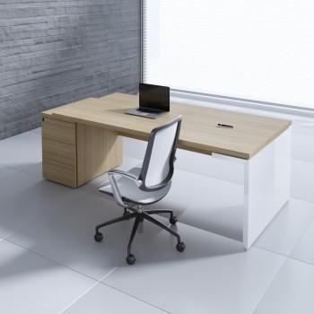 Mito Executive Desk w/Pedestal MIT4KD, Light Sycamore + White High Gloss