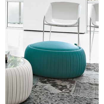 Plisse Small Pouf, Turquoise Blue Eco-Leather