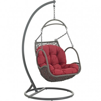 Arbor Outdoor Patio Wood Swing Chair With Stand, Red by Modway