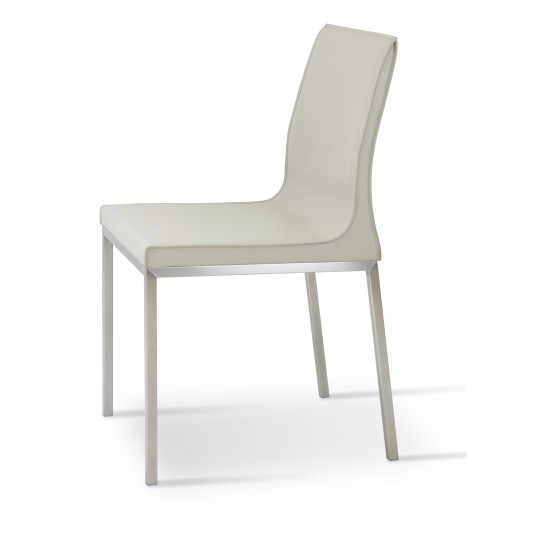 Polo Chrome Dining Chair, Bone Bonded Leather photo