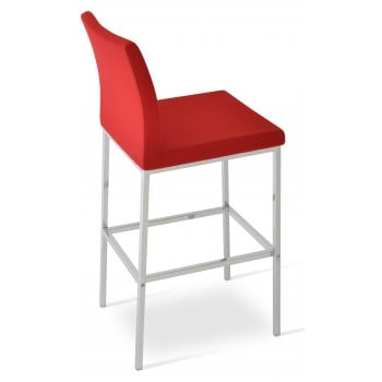 Aria Chrome Counter Stool, Red Camira Wool by SohoConcept Furniture