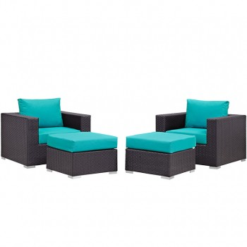 Convene 4 Piece Outdoor Patio Sectional Set, Espresso, Turquoise by Modway