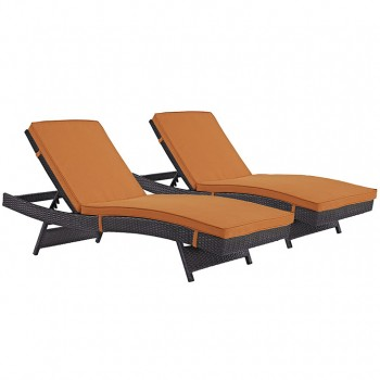 Convene Chaise Outdoor Patio, Set of 2, Espresso, Orange by Modway