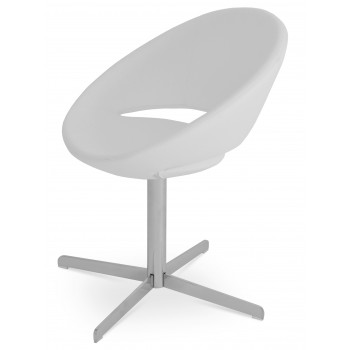 Crescent 4 Star Swivel Chair, White PPM, Large Seat by SohoConcept Furniture