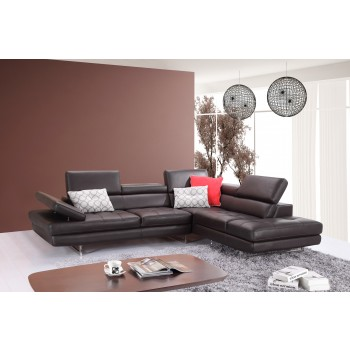A761 Italian Leather Sectional, Right Arm Chaise Facing, Slate Coffee by J&M Furniture