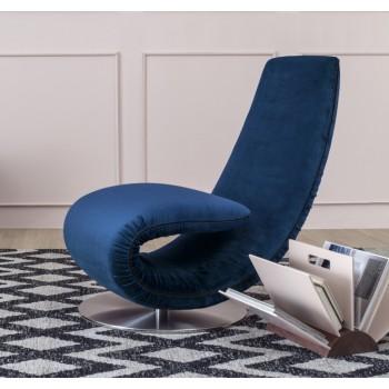 Ricciolo Chaise Lounge, Deep Blue Vega Velvet