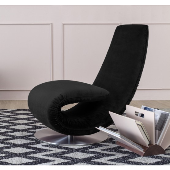 Ricciolo Chaise Lounge, Black Vega Velvet photo