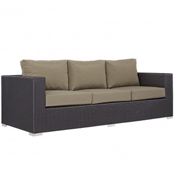 Convene Outdoor Patio Sofa, Espresso, Mocha by Modway