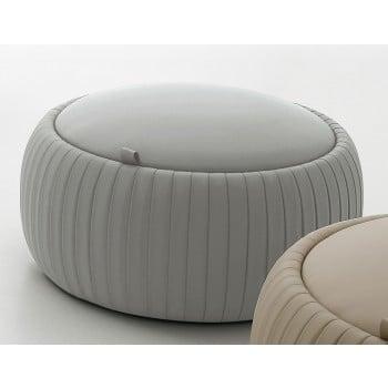Plisse Small Pouf, Light Grey Eco-Leather