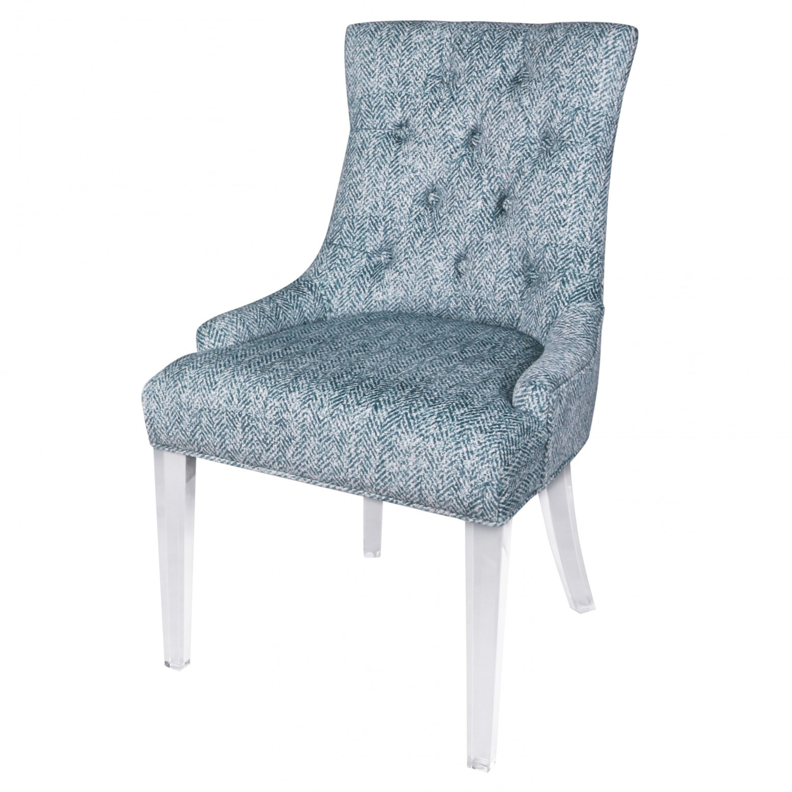 Incredible Audrey Kd Fabric Dining Chair Acrylic Legs Quiver Indigo Blue Inzonedesignstudio Interior Chair Design Inzonedesignstudiocom
