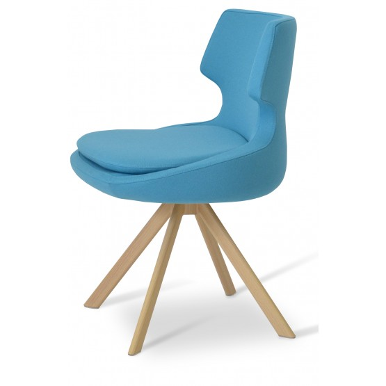 Patara Sword Dining Chair, Natural Veneer Steel, Turquoise Camira Wool photo