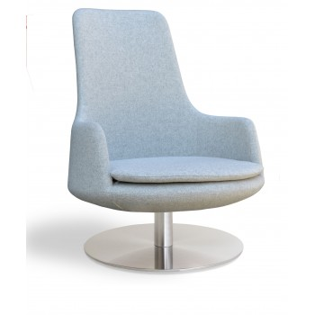 Dervish Lounge High Back Swivel Round Armchair, Silver Camira Wool by SohoConcept Furniture
