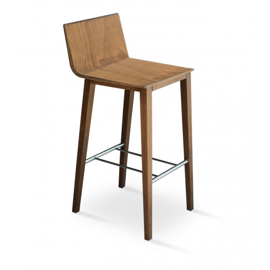 Corona Wood Bar Stool, Plywood Walnut Finish photo