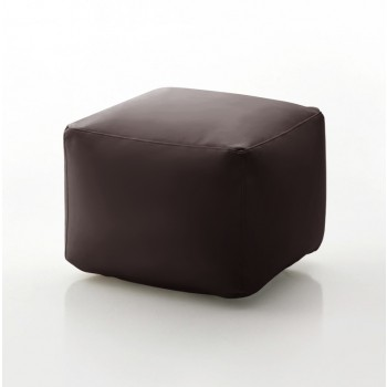 Truly Small Pouf, Dark Brown Eco-Leather