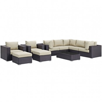 Convene 10 Piece Outdoor Patio Sectional Set, Espresso, Beige by Modway