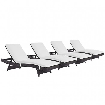 Convene Chaise Outdoor Patio, Set of 4, Espresso, White by Modway