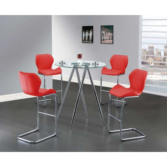 D1503 5-Piece Dining Room Set, Red photo