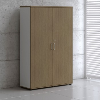 2 Door Storage Unit A6106, White + Canadian Oak