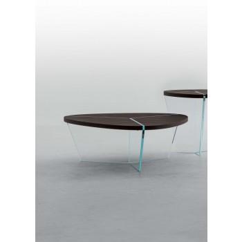 Aida Coffee Table, Clear Transparent Glass Base, Heat-Treated Dark Oak Wood Top
