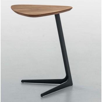 Celine Standard Side Table, Matt Black Metal Base, Natural Oak Wood Top