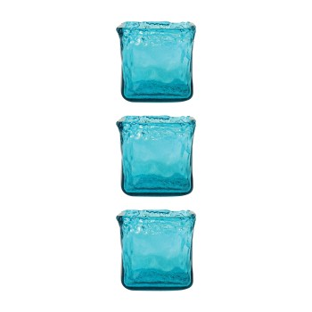 Inca Square Votive, Blue, Set of 3