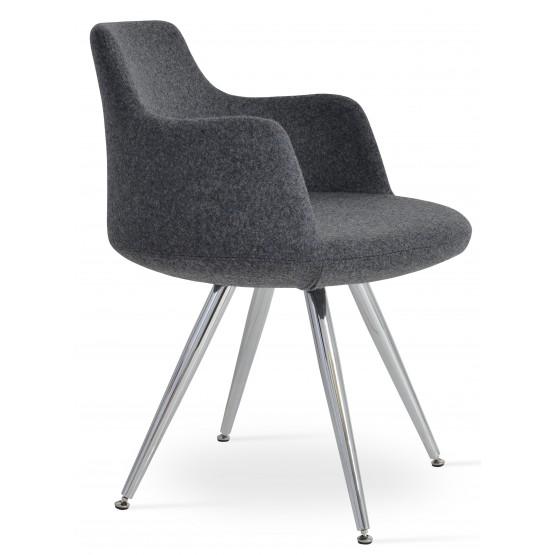 Dervish Star Chair, Stainless Steel, Dark Grey Camira Wool, Adjustable Foot Caps photo