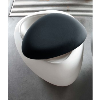 Ios Pouf, White Polyethylene Base, Anthracite Grey Orchidea Fabric