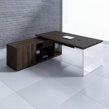 Mito Executive Desk w/Managerial Side Storage MIT1, Dark Sycamore + White High Gloss