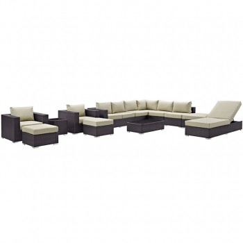 Convene 12 Piece Outdoor Patio Sectional Set, Espresso, Beige by Modway