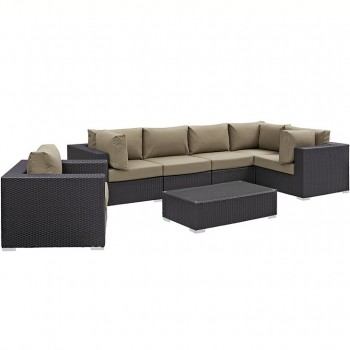 Convene 7 Piece Outdoor Patio Sectional Set, Сomposition 1,Espresso, Mocha by Modway