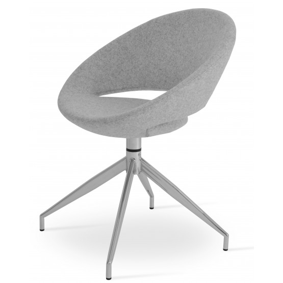 Crescent Spider Swivel Chair, Silver Camira Wool, Large Seat photo