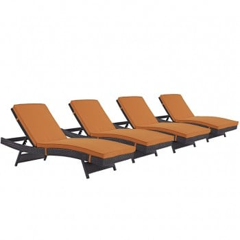 Convene Chaise Outdoor Patio, Set of 4, Espresso, Orange by Modway