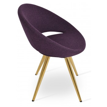 Crescent Star Chair, Gold Brass, Deep Maroon Camira Wool, Large Seat by SohoConcept Furniture
