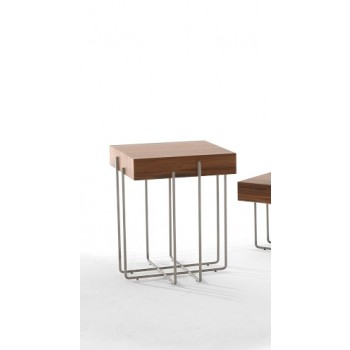Cruz Side Table, Black Chrome Metal Base, Canaletto Walnut Wood Top