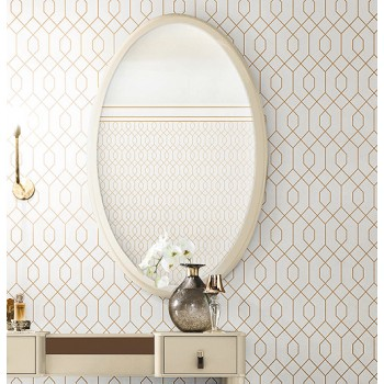 Magic Oval Mirror, Beige