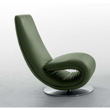 Ricciolo Chaise Lounge, Sage Leather