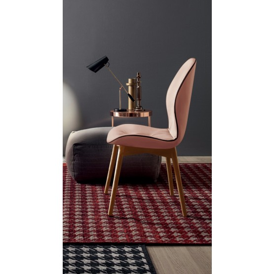 Sorrento Dining Chair, Natural Oak Wood Base, Pink Grain Leather Upholstery, Dark Brown Creasing photo