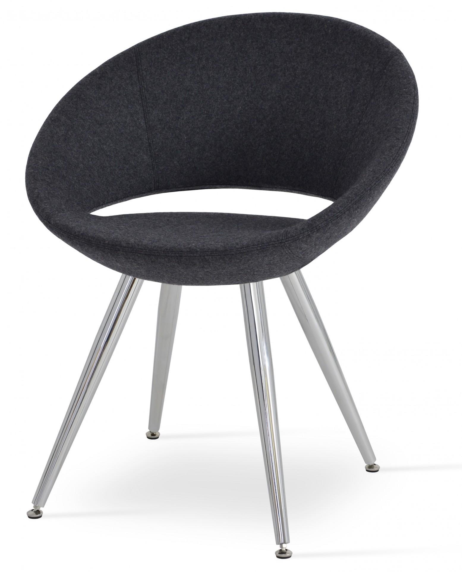 Surprising Crescent Star Chair Stainless Steel Dark Grey Camira Wool Adjustable Foot Caps Large Seat Short Links Chair Design For Home Short Linksinfo