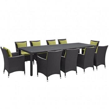 Convene 11 Piece Outdoor Patio Dining Set, Сomposition 1, Espresso, Peridot by Modway